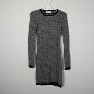 A.L.C. Wool Sweater Dress Black White Knit XS
